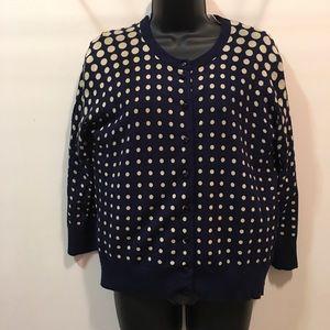 Spense knits polka dot cardigan sweater sz L